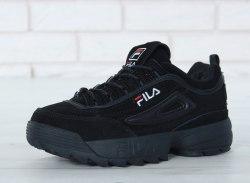 КРОССОВКИ Disruptor II Leather BLACK (С МЕХОМ) Fila