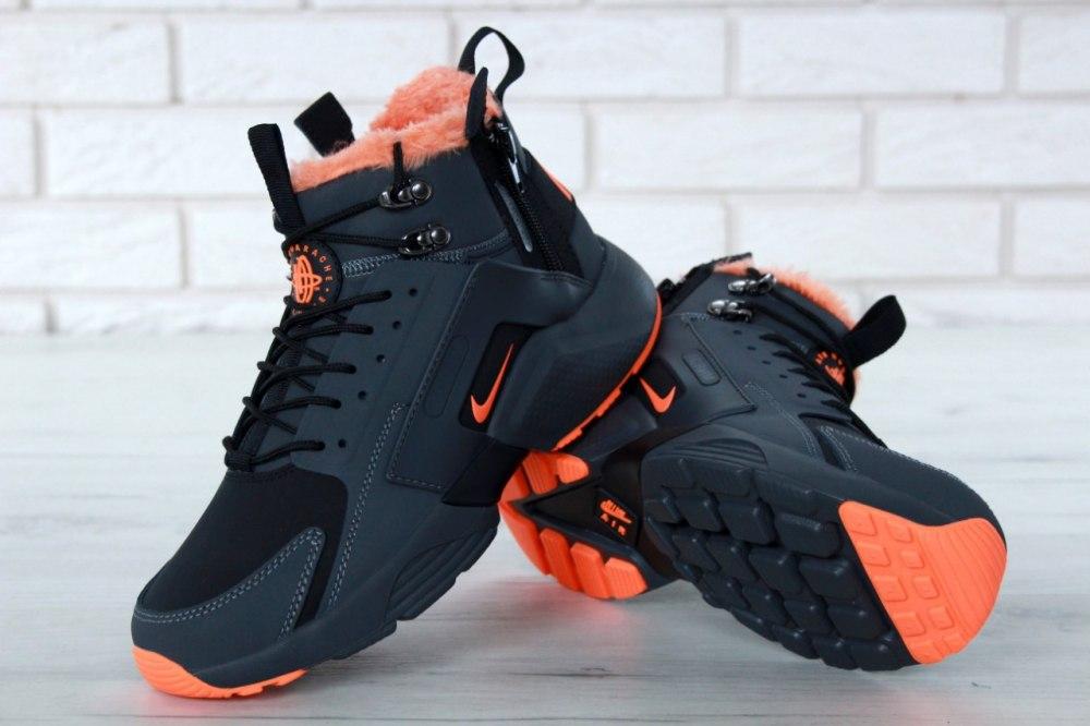 415d5695 Кроссовки зимние С МЕХОМ! Huarache X Acronym City Winter Black/Orange Nike