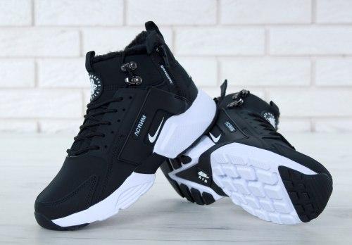 Кроссовки зимние С МЕХОМ! Huarache X Acronym City Winter Black/White Nike