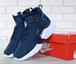 Кроссовки зимние С МЕХОМ! Huarache X Acronym City Winter Blue/White Nike