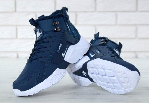 Кроссовки зимние С МЕХОМ! Huarache X Acronym City Winter Blue/White Nike