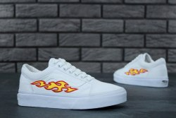 Old Skool Flame Fire White Vans