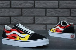 Old Skool Flame Fire Vans