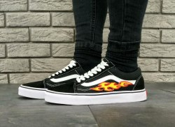 Old Skool Black/White Flame Fire V a n s