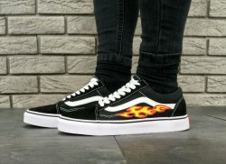Old Skool Black/White Flame Fire Women Vans