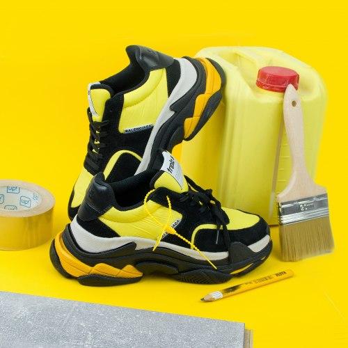 Triple S black yellow (3-ёх слойная подошва) Balenciaga