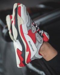 Triple S Red Gray Balenciaga