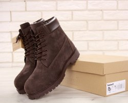БОТИНКИ TIMBERLAND CLASSIC PREMIUM NUBUCK WATERPROOF ALL BROWN (НАТУРАЛЬНЫЙ МЕХ) Timberland