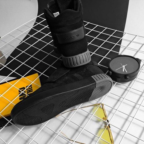 Зимние кроссовки! Tubular Invader Strap Triple Black Adidas