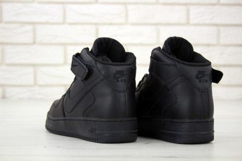 Кроссовки зимние С МЕХОМ! Air Force Winter All Black кожа Nike