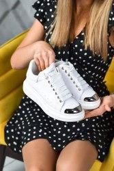 Oversized Sneakers White Metal Toe Alexander McQueen