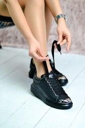 Oversized Sneakers Black Metal Toe Alexander McQueen
