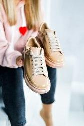 Oversized Sneakers Brown (лакированные) Alexander McQueen