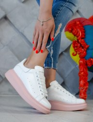 Oversized Sneakers White Pink Alexander McQueen