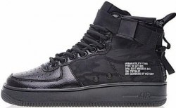SF Air Force 1 Utility Mid All Black Women Nike