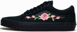 Old School Roses Black Women Vans