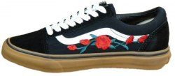 Old School Roses Black/White/Brown Women Vans