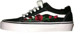 Old Skool Roses Black Women Vans