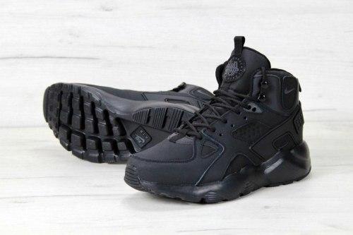 Air Huarache High Top Triple Black Nike