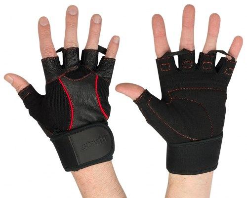 Перчатки атлетические с кожаными вставками StarFit SU-120