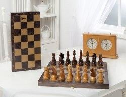 Шахматы гроссмейстерские деревянные с венге доской, рисунок золото 196-18
