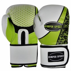 Перчатки Vimpex Sport для бокса 3072 бело- зеленые 10унц