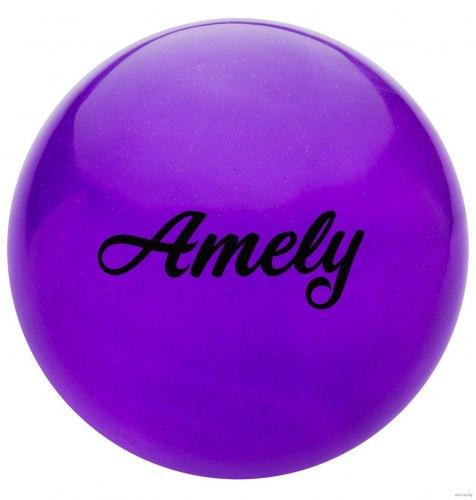 Мяч для художественной гимнастики AGB-102 19 см; фиолетовый с блёстками