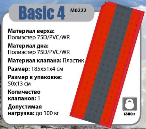 Коврик самонадувающийся BTrace Basic 4 183х51х3,8