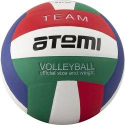 Мяч волейбольный ATEMI TEAM, синтетическая кожа PU Soft, красн/бел/син/зел