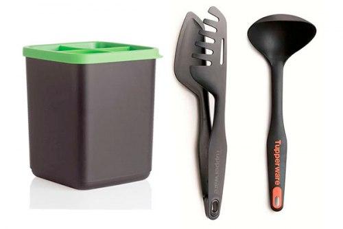 Набор: подставка для кухонных приборов, половник, мастер-щипцы Tupperware