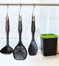 Набор: половник, шумовка, ложка для смешивания, подставка для приборов Tupperware