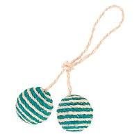 Игрушка TRIXIE сизалевая в виде 2 мячиков с кошачьей мятой на веревке, 2шт*4,5 см