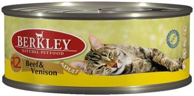 Консервы Berkley для кошек говядина с олениной 100г