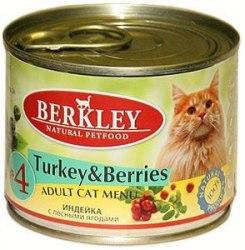 Консервы Berkley для кошек индейка с лесными ягодами