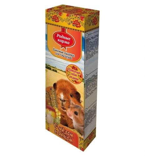 Зерновая палочка РОДНЫЕ КОРМА для грызунов, яично-медовые 2х45г