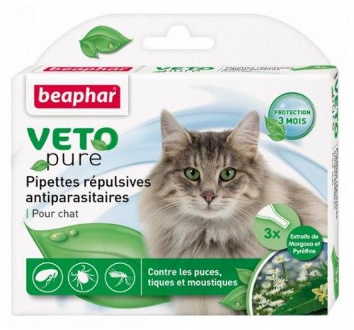 Био капли BEAPHAR для кошек от блох и клещей, 3 пипетки