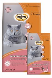 Сухой корм Мнямс Skin&Coat с лососем для взрослых кошек 1,5кг + В ПОДАРОК 2 ПАУЧА