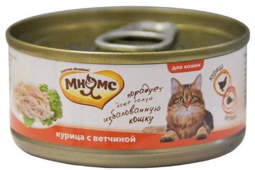 Влажный корм Мнямс для кошек Курица с ветчиной в нежном желе 70г