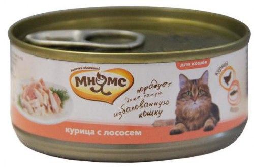 Влажный корм Мнямс для кошек Курица с лососем в нежном желе 70г