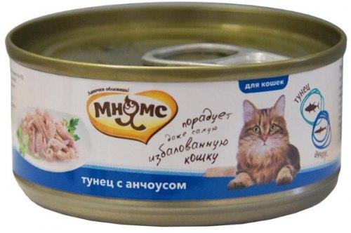 Влажный корм Мнямс для кошек Тунец с анчоусами в нежном желе 70г