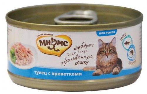 Влажный корм Мнямс для кошек Тунец с креветками в нежном желе 70г