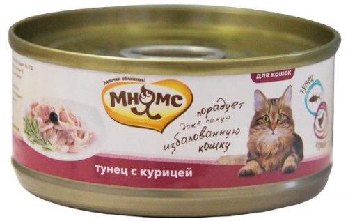 Влажный корм Мнямс для кошек Тунец с курицей в нежном желе 70г