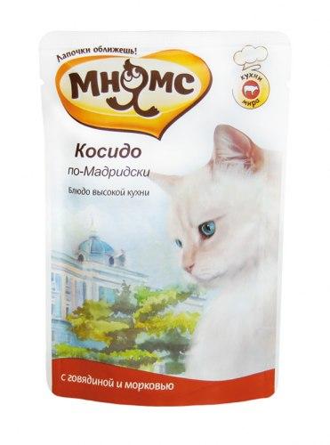 Влажный корм Мнямс для кошек Косидо по-Мадридски (говядина с морковью) 85 г * 12 шт
