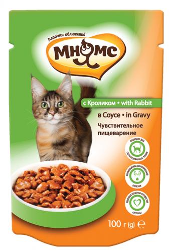 Влажный корм Мнямс для взрослых кошек с кроликом в соусе, чувствительное пищеварение, 100г *24 шт