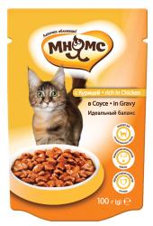 Влажный корм Мнямс для взрослых кошек с курицей в соусе, идеальный баланс, 100г * 24 шт