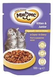 Влажный корм Мнямс для котят с курицей в соусе, рост и развитие котят, 100 г * 24 шт