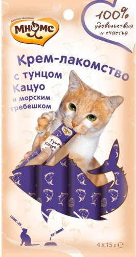 Крем-лакомство Мнямс для кошек с тунцом Кацуо 15г х 4 шт