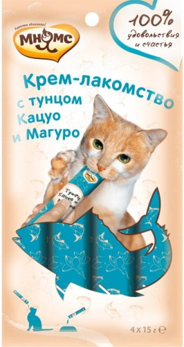Крем-лакомство Мнямс для кошек с тунцом Кацуо и Магуро 15г х 4 шт