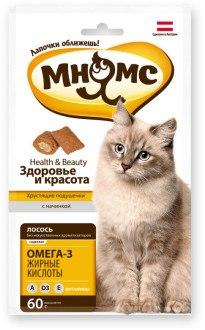 """Хрустящие подушечки Мнямс для кошек с лососем """"Здоровье и красота"""" 60г"""