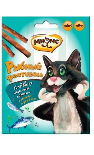 Лакомые палочки Мнямс Рыбный фестиваль для кошек (лосось, форель) 3*4 г